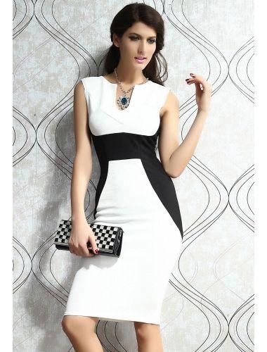 White Contrast Panel Midi Bodycon Dress | buy sexy Club Dresses ,  Club wear online in india | StringsAndMe