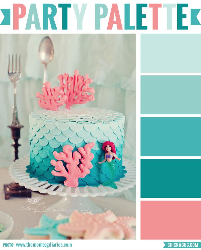 Party Palette: Ombre mermaid cake - Chickabug Blog: ideas for your beautifully personalized parties