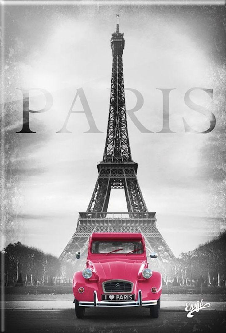 """sandra1219: """" Pink Citroën 2CV and Eiffel Tour – 1001cado.com """""""