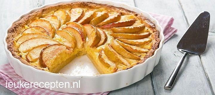 Lekker recept voor vlaai met een knapperige bodem met banketbakkersroom en schijfjes appel en kaneel