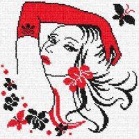 Dziewczyna w Czerwonych, Długich Rękawiczkach i z Czewonym Kwiatem we Włosach