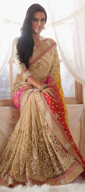 158759, Bollywood sarees, Viscose, Net, Machine Embroidery, Patch, Border, Thread, Beige and Brown Color Family