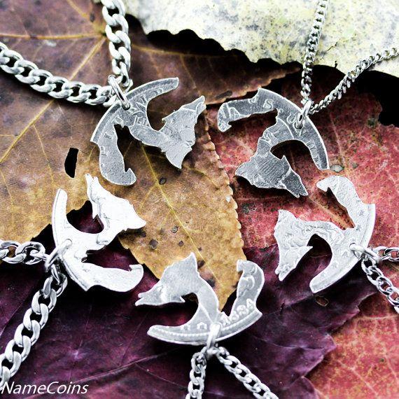 Wolfsrudel 5 Stück-Freunde und Familie Halskette hand von NameCoins – Maya