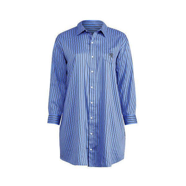 Ralph Lauren Lauren Woman Striped Sateen Pajama Shirt ($66) ❤ liked on Polyvore featuring plus size women's fashion, plus size clothing, plus size intimates, plus size sleepwear, plus size pajamas, sateen pajamas, ralph lauren pajamas, long sleeve pjs, long sleeve sleepwear and monogrammed pajamas