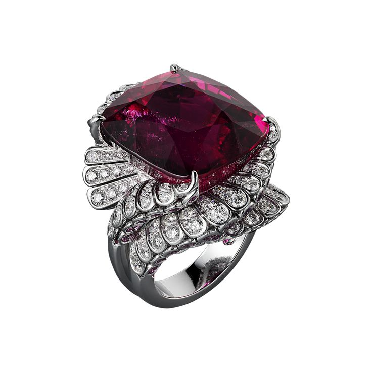 Platinum, one 39.81-carat cushion-shaped rubellite, pink sapphires, brilliants.