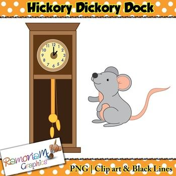 "FREE clip art. This set contains free images from the popular nursery rhyme ""Hickory Dickory Dock"""