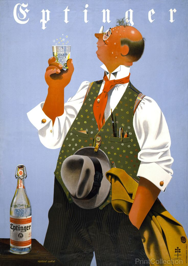 Eptinger advertising poster created in the 1940s as a colour lithograph | Design by Herbert Leupin in Zurich