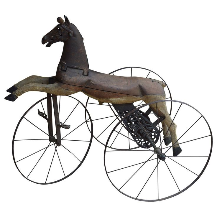 19th Century Wood and Metal Child's Tricycle | From a unique collection of antique and modern toys at https://www.1stdibs.com/furniture/folk-art/toys/