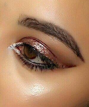 White liner Orange eyeshadow  Gold eyeshadow Jai maree