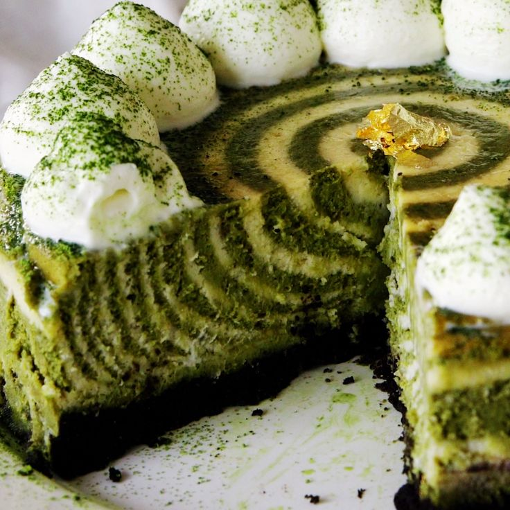 Matcha and oreo are a delicious combination in this zebra cheesecake.