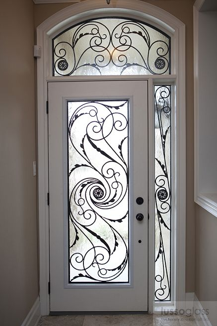 Wrought iron inserts gallery wroughtfe pinterest for Exterior doors with screen insert