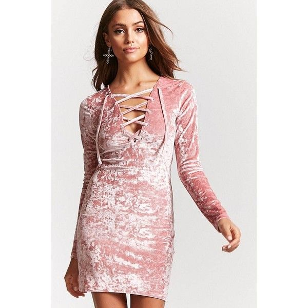 Forever21 Crushed Velvet Lace-Up Dress ($15) ❤ liked on Polyvore featuring dresses, pink, long sleeve short dress, bodycon mini dress, short-sleeve dresses, short sleeve cocktail dresses and long sleeve cocktail dresses