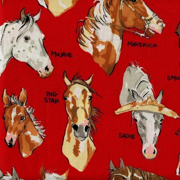 Stable Mates Horses Red Quilt Sew Fabric ALEXANDER HENRY #AlexanderHenry