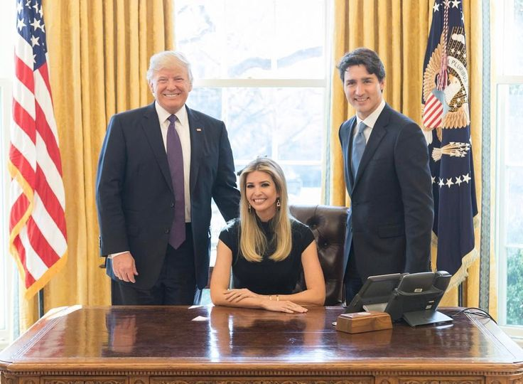 Ivanka Trump, Donald #Trump and Justin Trudeau.