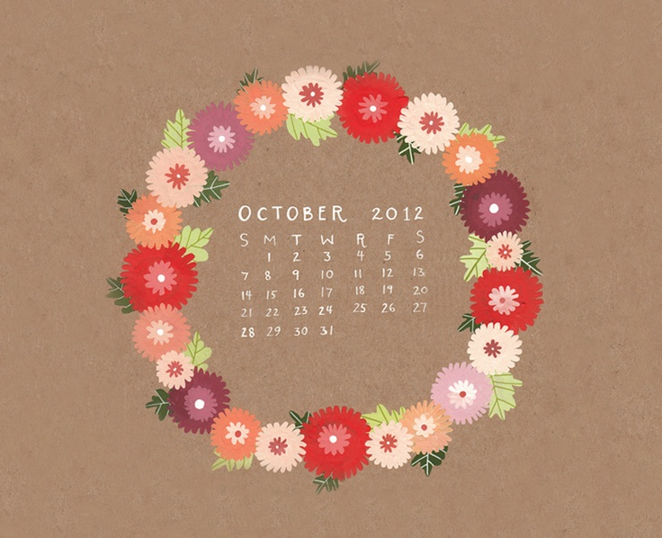 October Desktop Calendar