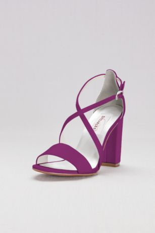 ab0b1fe6345f These chunky-heeled dyeable matte satin sandals captivate with crisscross  straps. By Dyeables Satin upper
