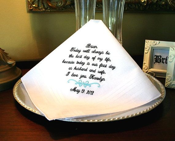 Wedding Day Gift From Groom To Bride: Groom Handkerchief -Hankie