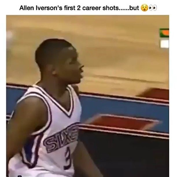 Allen Iverson airballs his first 2 shots attempts of his career.                  Tags: #AllenIverson #Philly #Iverson #76ers #NBA