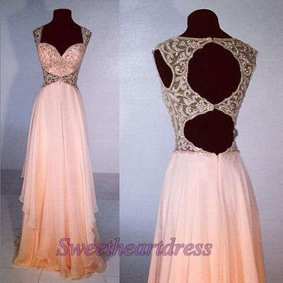 Unique design hollow out pink chiffon sequins prom dress, ball gown, prom dresses long #coniefox #2016prom