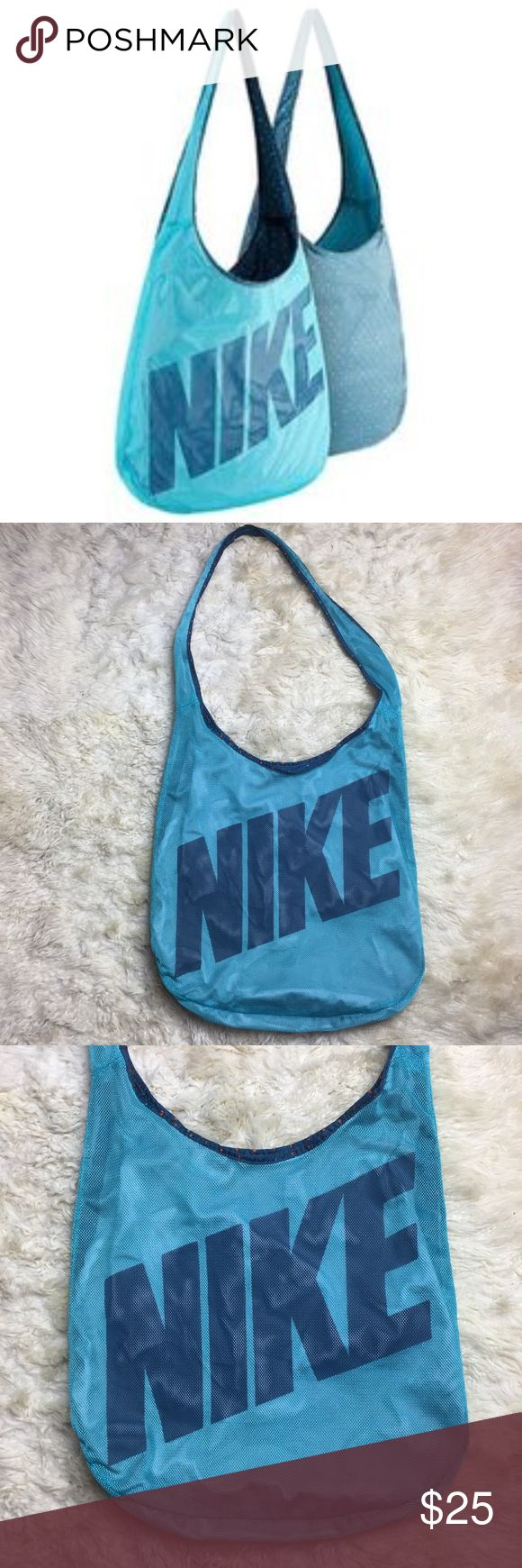 "NIKE REVERSIBLE SHOULDERBAG Pre owned, reversible NIKE shoulder bag.  Length-15"" width-17"".  Good condition, pet/smoke free home Nike Bags Shoulder Bags"