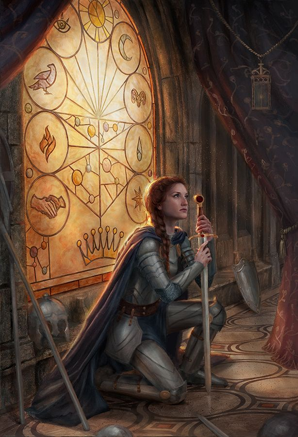 """The Bloodsworn"" by Lindsey Look Oil on board. Female Knight in armor."
