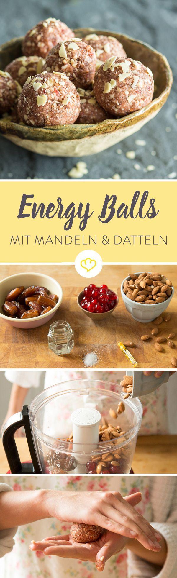 Gegen das Nachmittagstief oder einfach so: Energy Balls machen glücklich. Du kannst deine gesunden Pralinen nach Herzenslust verfeinern.