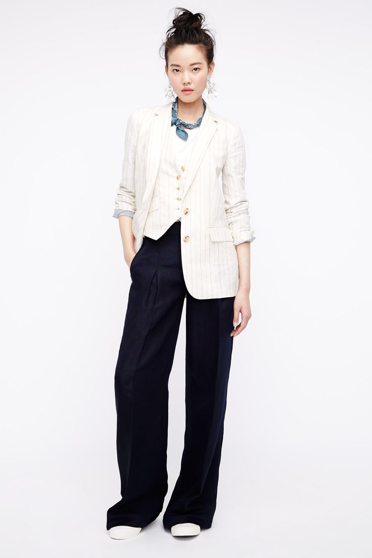 J.Crew Spring 2016 Ready-to-Wear Fashion Show  ...cool 3-piece suit, love the vest-as-blouse idea...