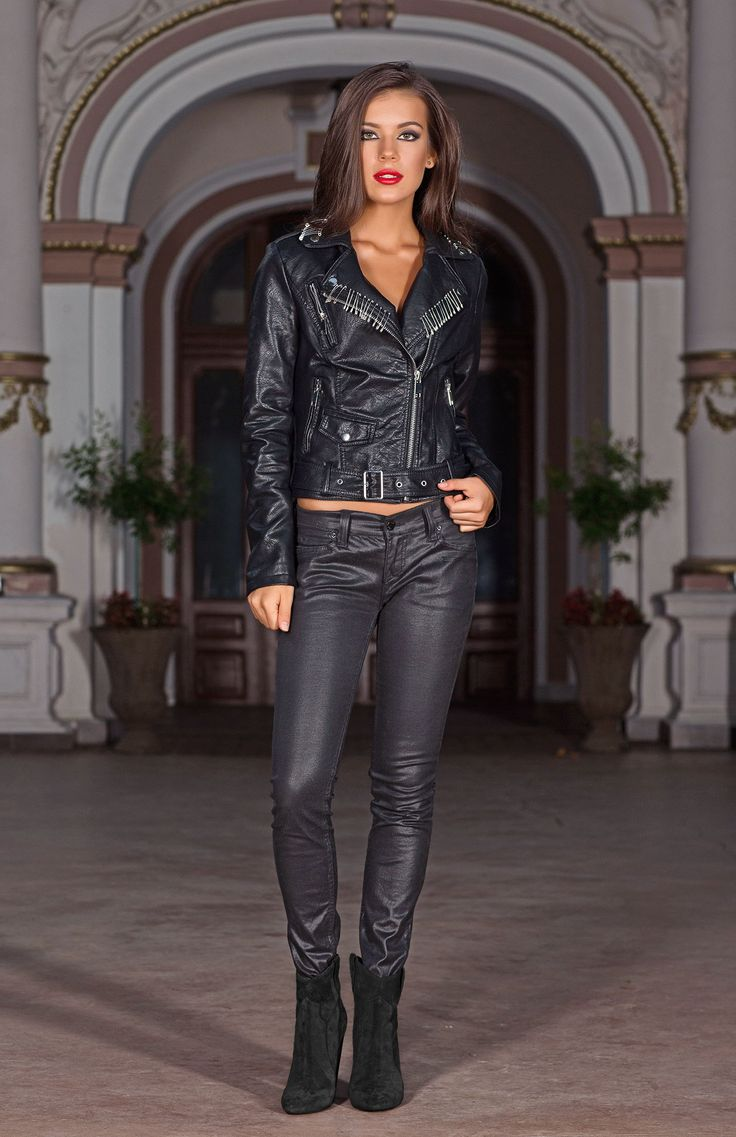 Layer the classic black Callanne biker jacket over your favourite outfits to add a chic edge to any look. Featuring  an angular zip up front, zipped cuffs and pockets, stud detailing and a safety pin lapel design, this jacket incorporates plenty of personality!