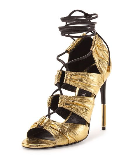 """TOM FORD metallic laminated eel skin sandal with calf leather trim. 4.3"""" covered…"""