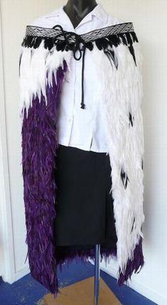 Beautiful Purple and White Maori Korowai Cloak