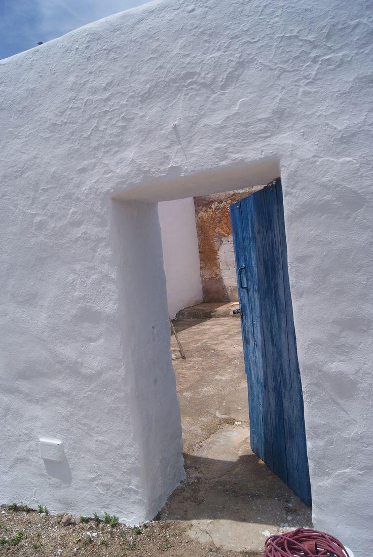 Cal, azul y  madera......