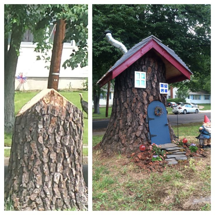 Fairy Tree Stump House - before and after
