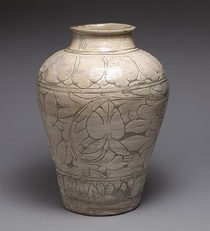 Large Jar, Joseon dynasty (1392–1910), second half of 15th century Korea Stoneware with sgrafitto decoration of peonies under buncheong glaze; H. 15 in. (38.1 cm)