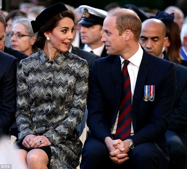 June 30, 2016. Kate, 34, joined Harry and William at the Thiepval Memorial in France Vigil marked the centenary of the Battle of the Somme in 1916 The Duchess wore a monochrome Missoni coat dress and pillbox hat  Her husband William gave a speech on 'the catastrophe of world war' . After a solemn afternoon, the Duke and Duchess share a joke during the service