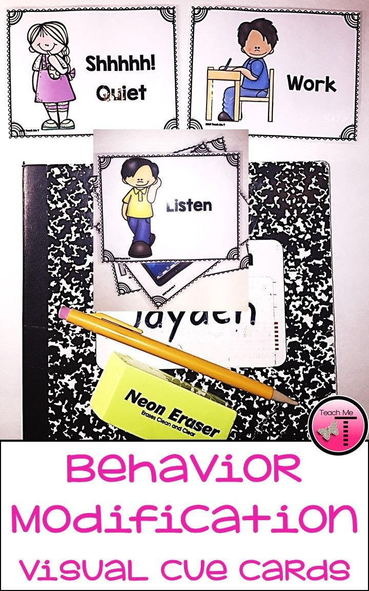 Classroom management is always in the forefront of our minds as a teacher. Add these visual cue cards to your arsenal to prompt desired behaviors in your students. The cards and/or posters would work well for Special Education students, students with Autism, hearing impaired students, and students with defiant behaviors. Using the cue cards can also allow you to cue students without needing to disrupt your lessons. https://www.teacherspayteachers.com/Product/Behavior-Modification-Visual-...