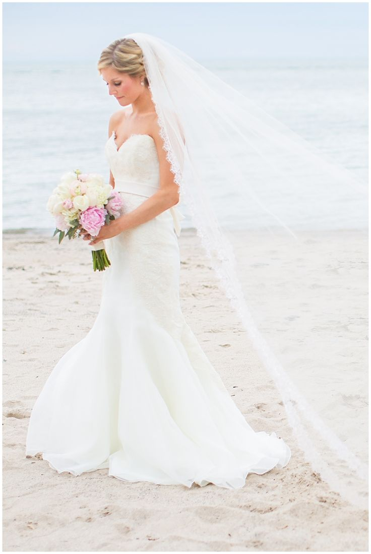 Beach Wedding Lake Erie Cathedral Veil