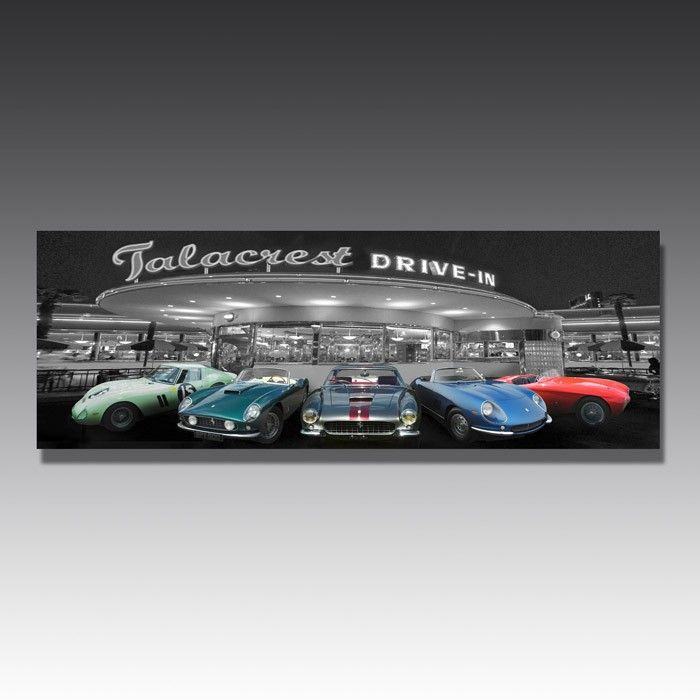 Classic cars take the prime spot in this classic car wall art, and the LED lights mean they make an even bigger impression