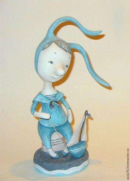 Мальчик-зайчик. - голубой,морячок,зайчик,мальчик,лето,грусть,кораблик
