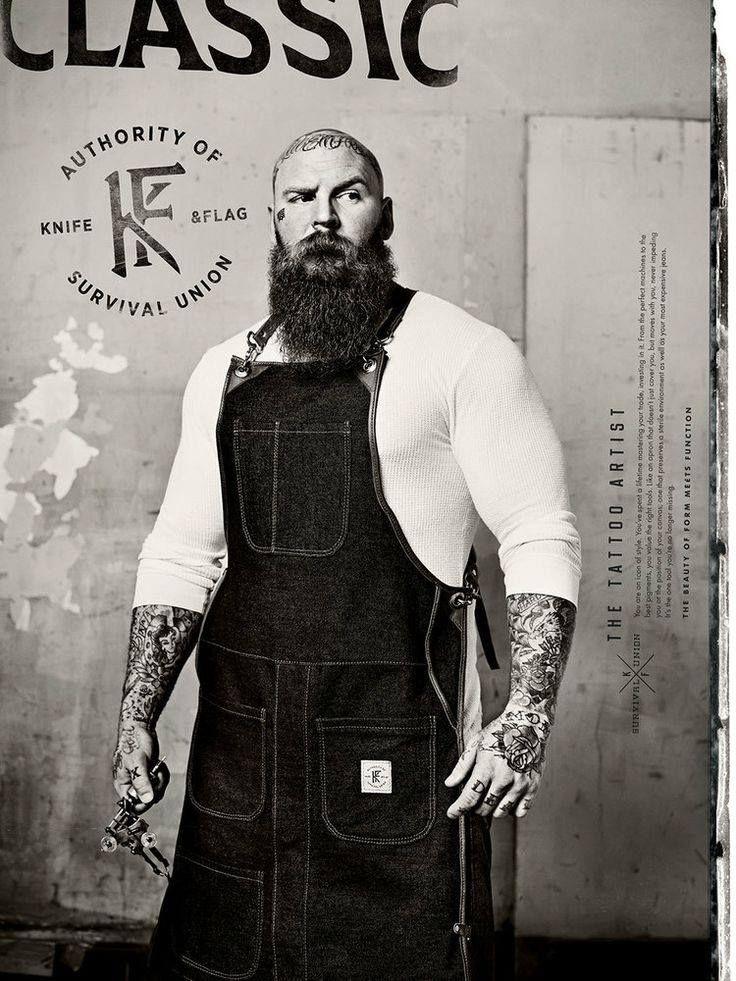 big man with a big beard bearded beards men tattoo tattoos tattooed bald