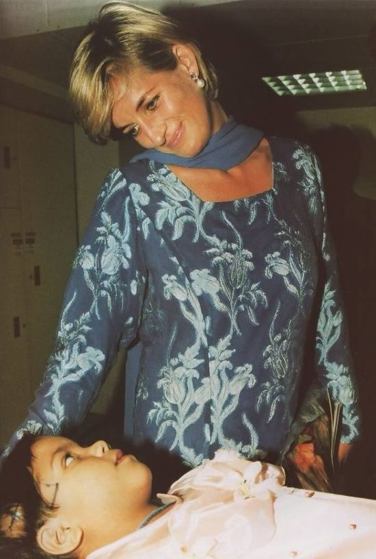 May 23, 1997: Diana, Princess of Wales with a cancer patient during her visit to The Shaukat Khanum Memorial Hospital in Lahore, Pakistan.