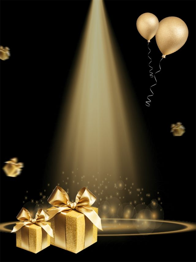Light Effect Gold Black Background Poster H5 Ad Investment Balloon Gift Box Christmas Background Images Birthday Background Design Black Background Images