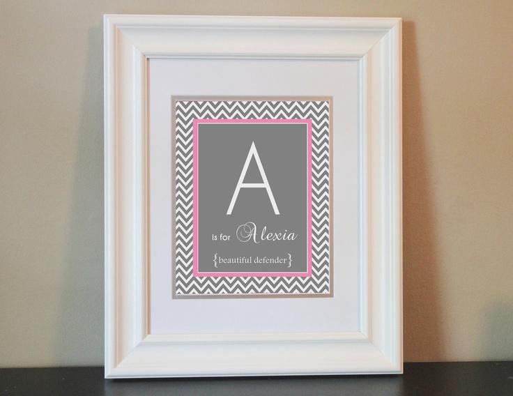 Chevron Baby Nursery Name Art Girl Gray & Pink by BabyBunsDesigns