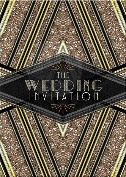 Art Deco Wedding Black Gold Geometric Glitter Invitation. Lemon Leaf Prints