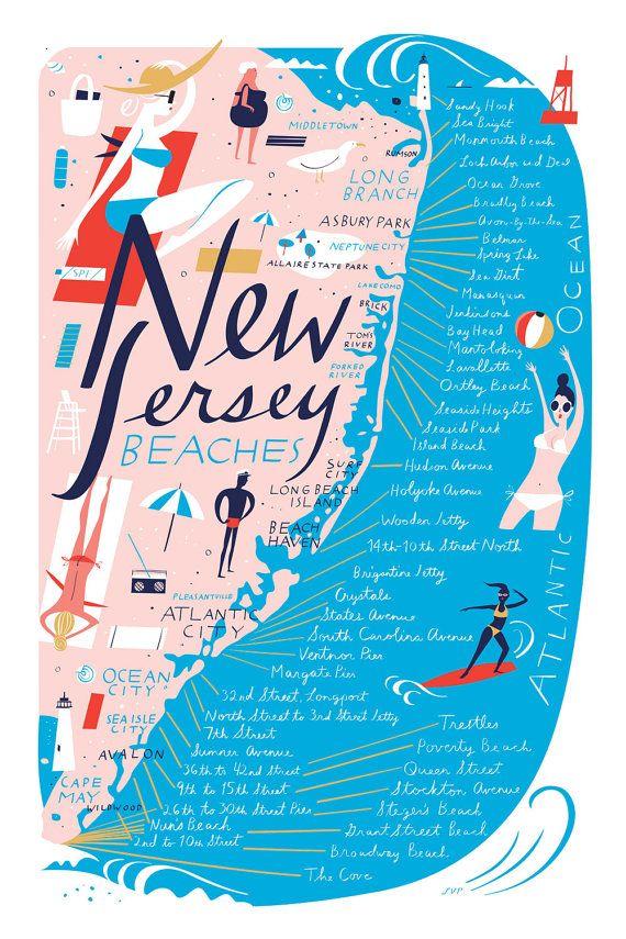 Carte plages de New Jersey, polychrome, 12 « x 18 » Archiv...