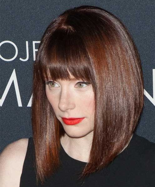 Long Inverted Bob Hairstyles With Bangs For Straight Sleek