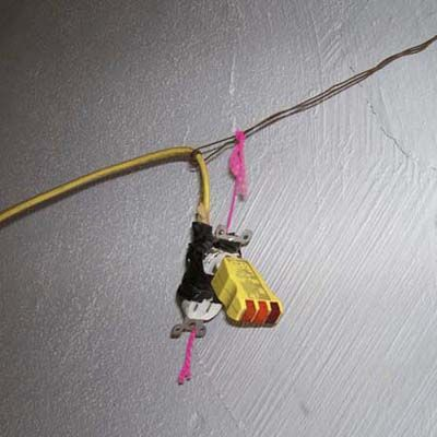 receptacle hanging by thread...the only wiring in a 1920s garage!: 1920S Garage, Photo