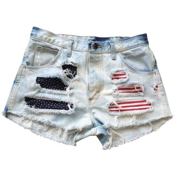 Shredded American Flag Levi Ripped Frayed High Rise Denim USA Shorts (115 AUD) ❤ liked on Polyvore featuring shorts, bottoms, cutoff, denim, high waisted shorts, high-waisted cut-off shorts, american flag denim shorts, distressed denim shorts and cut off shorts