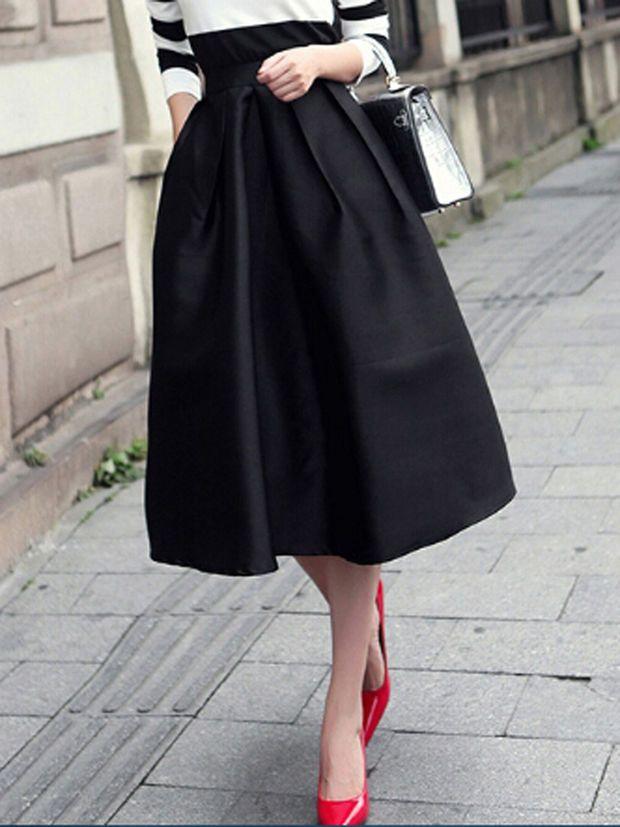 Black High Waist A-Line Midi Skater Skirt