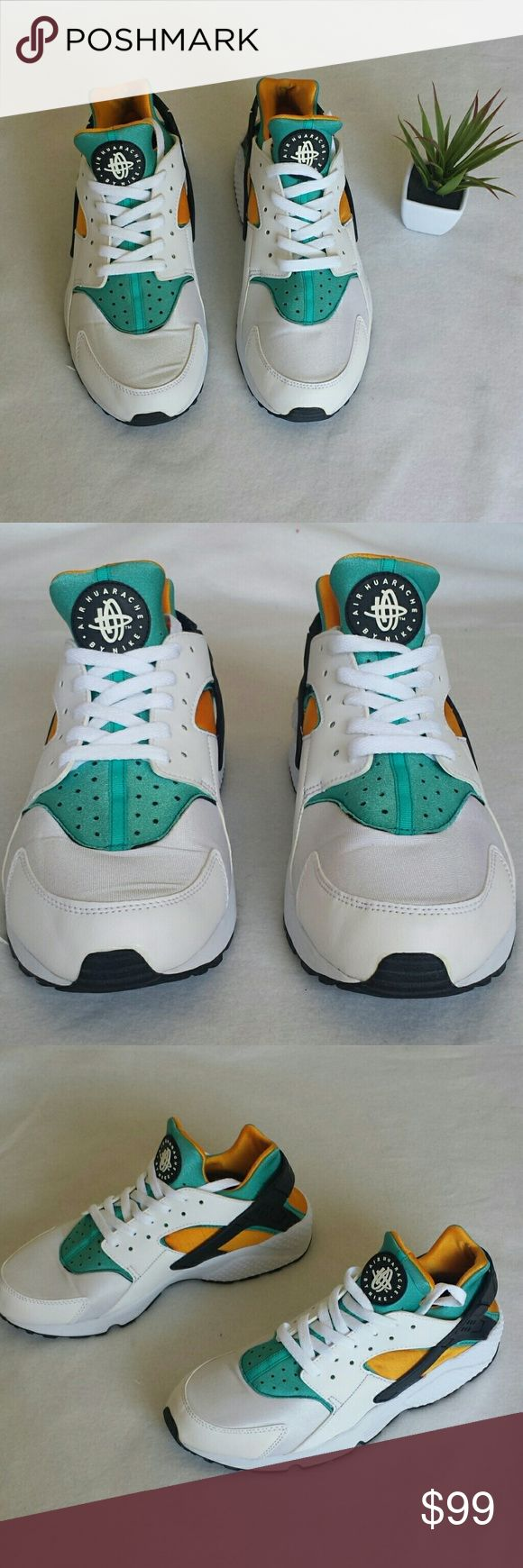 Men's Air Huarache White Yellow and Blue Mint condition Nike Shoes Sneakers