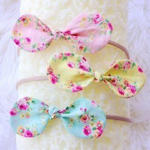 Trio of Pastel Floral Top Knot Bow Baby Headbands